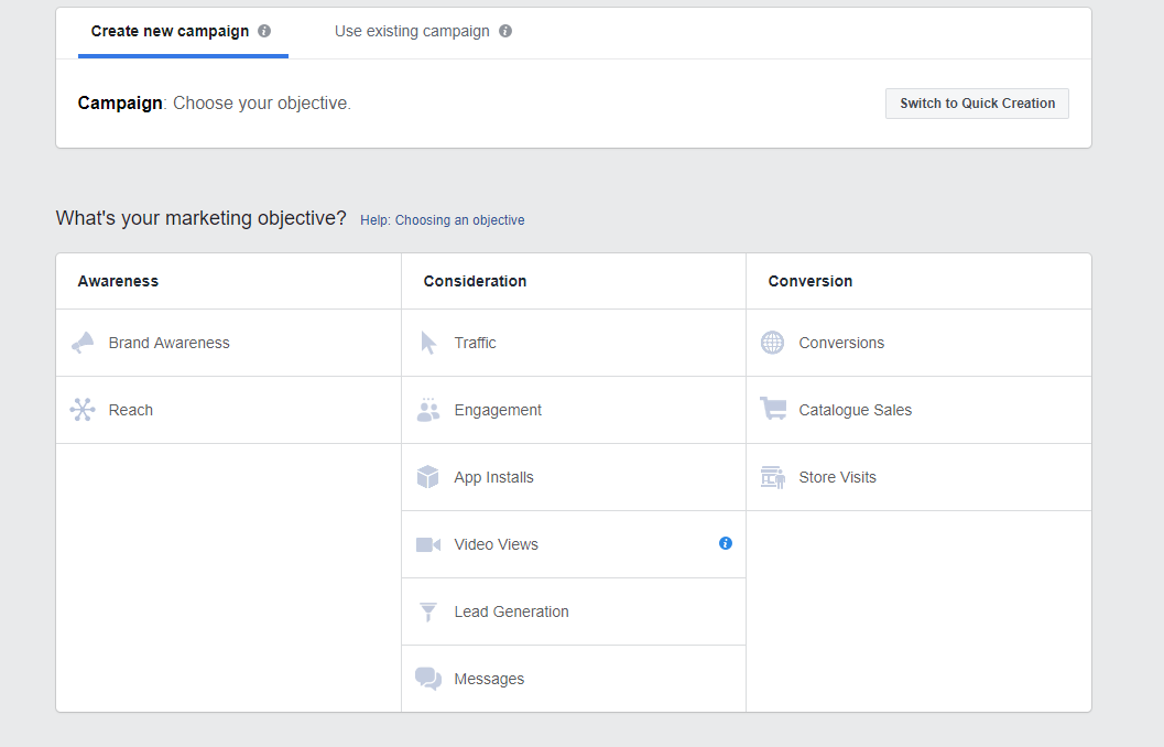 Screenshot of Facebook Ads Manager showing Awareness, Consideration and Conversion goals
