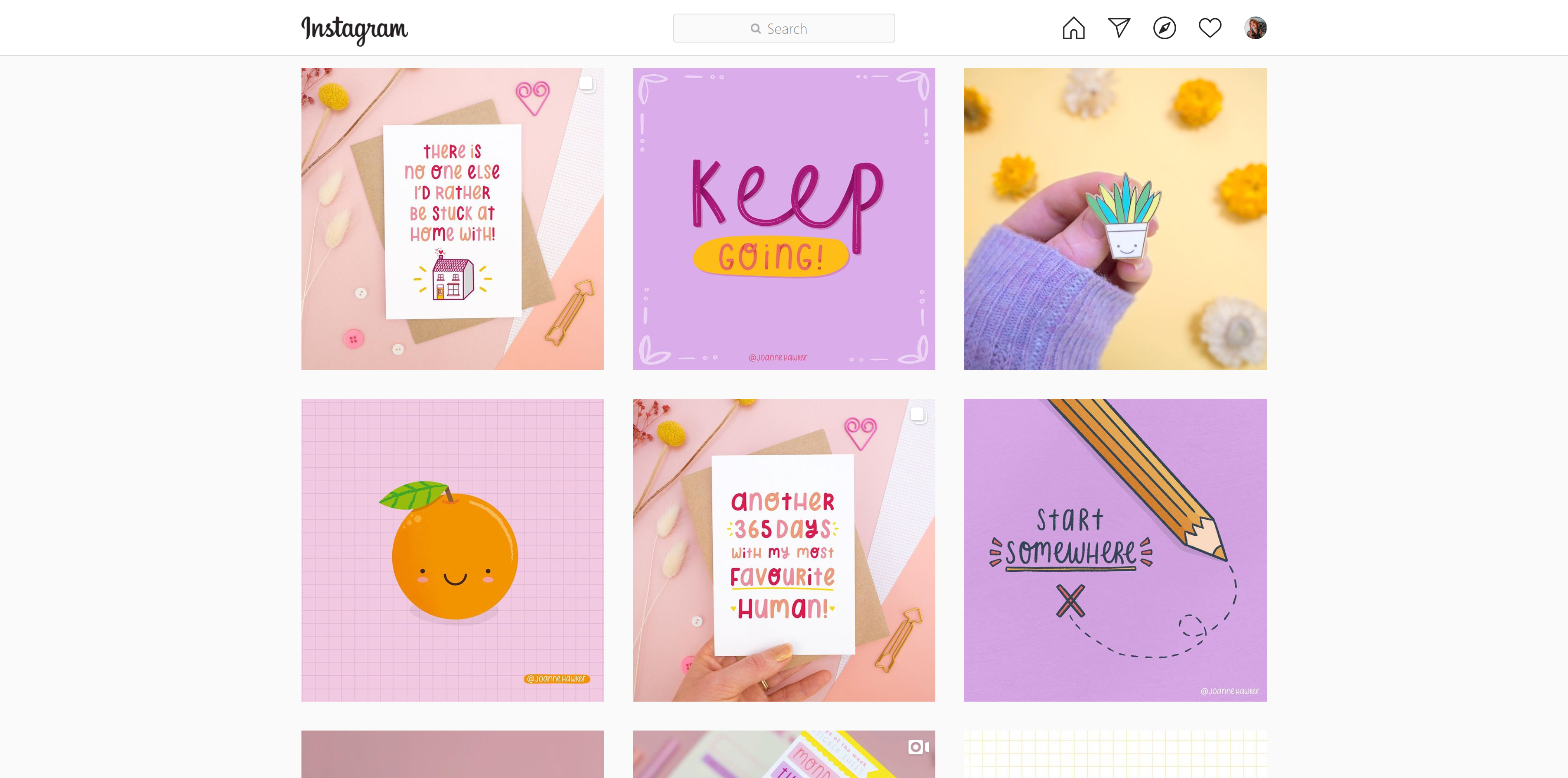 Joanne Hawker colourful eclectic instagram grid